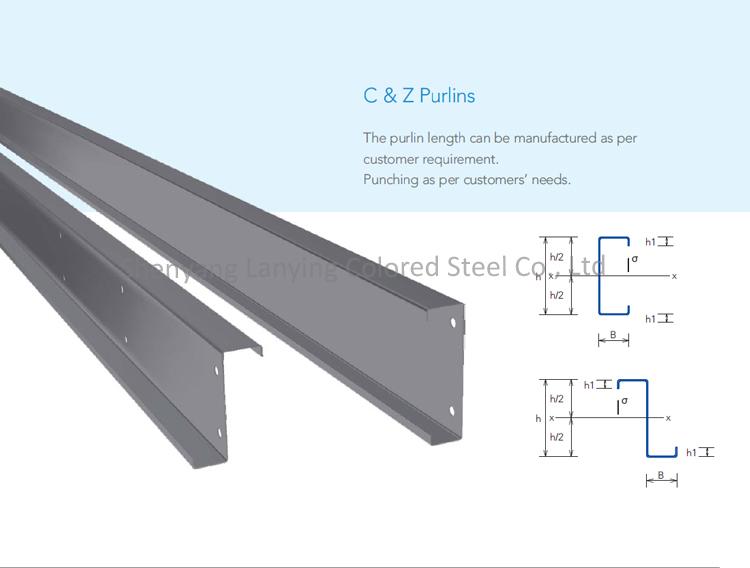 Steel Structure Galvanized Steel C Purlin Z Purlin Metal