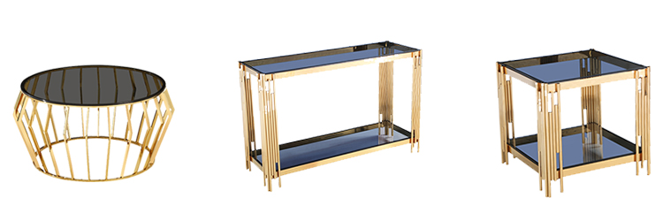 2020  Hot Seller  Modern Luxury Stainless Steel Glass Gold Console Table Design For Sale