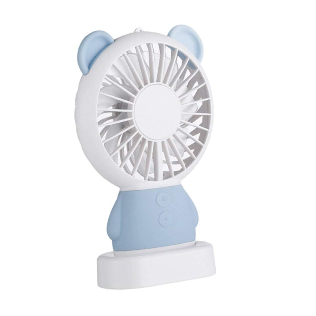 Baoblaze Kids Handheld Mini Fan Electric Portable Fan with Multi-Color LED Light USB Rechargeable Personal Mini Fan Children Cute Rabbit Bear Fan - #5 Blue, 15x8.6cm