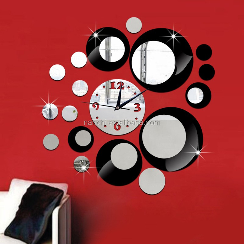 Popular round clock circle DIY Wall Clock meeting room mirror clock Wall Sticker living room TV background sofa decoration