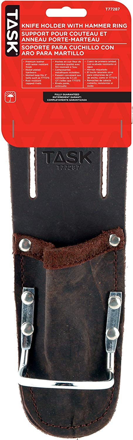 Task Tools T77287 Tradesperson's Leather Utility Knife Holder with Hammer Ring