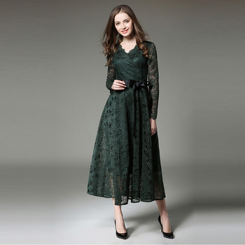 Summer autumn women casual military green lace long sleeve ladies royal midi dress