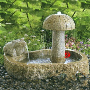 Stone Small Garden Fountain With Frog And Mushroom Statue