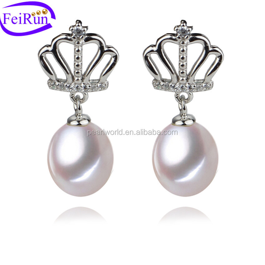 FEIRUN fashion cute the girl with a pearl earring, pearl earring silver 925, white pearl earring drop