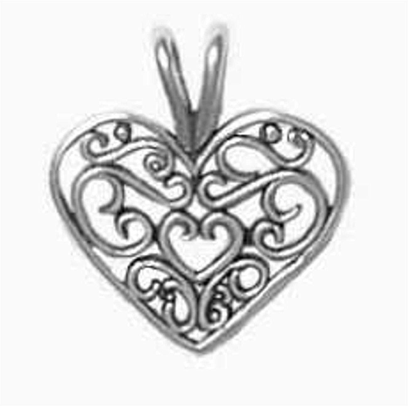 "Sterling Silver 7"" 4.5mm Charm Bracelet With Attached Beautiful Filgree Scroll Heart Charm"