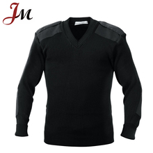 New black v-neck knitting military commando uniforms pullover security/police sweater