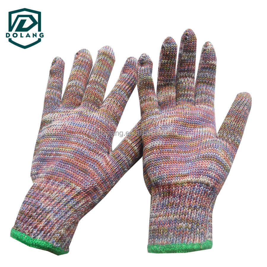 5 Years Experience7g Green Poly Cotton String Knitted Safety Working Gloves