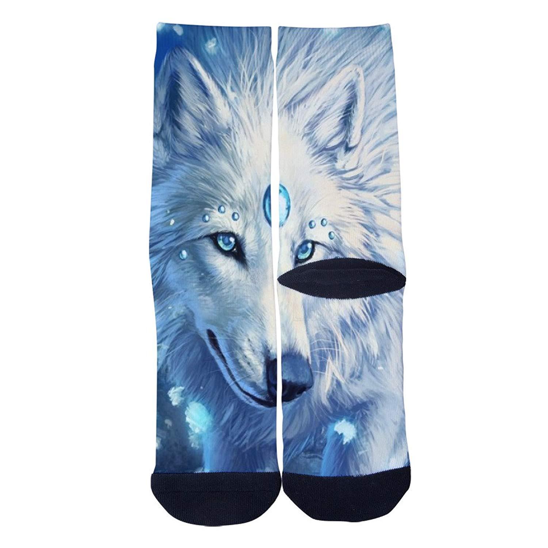 Eyes with tears Snow Wolf Socks Mens/Womens Custom Crew Socks Personality Creative Socks Multiple Elite Socks