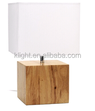 Wood Base Lamps: Wood table lamp, natural oak wood base + fabric lampshade,Lighting