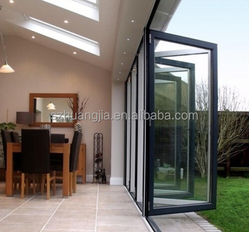 Bi Folding Aluminum Frame Commercial Large Sliding Glass