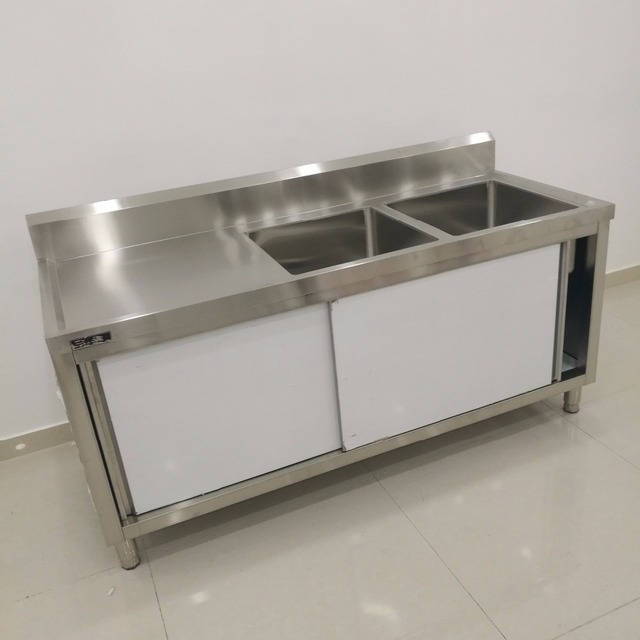 Stainless Steel 304 Bar Wash Sink Kitchen Counter Top With Cabinet