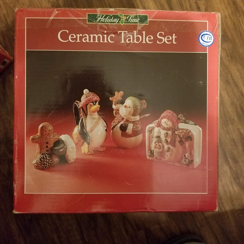 Holiday Time Ceramic Napkin Holder, Sugar, Creamer, Salt & Pepper 5 Piece Table Set