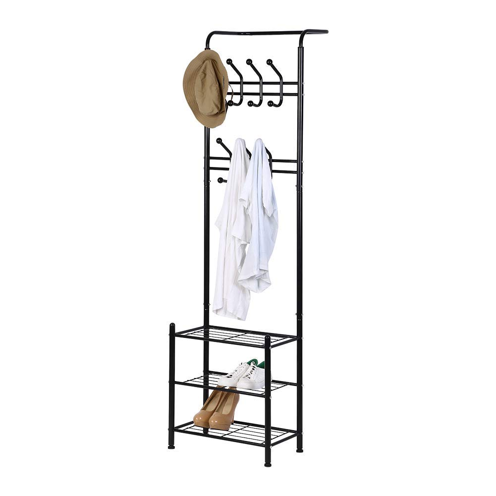 Coat Hat Rack, Free Standing Metal Coat Hat Shoe Rack Clothes Stand with 18 Hooks and 3-Tier Shoe Rack Entryway Black 50 x 180cm / 19.7 x 70.8inch