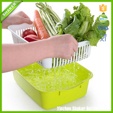 Better life Quality PP Creative Fruit Basket Double layer wash baskets Plastic vegetable pots Drain shelf