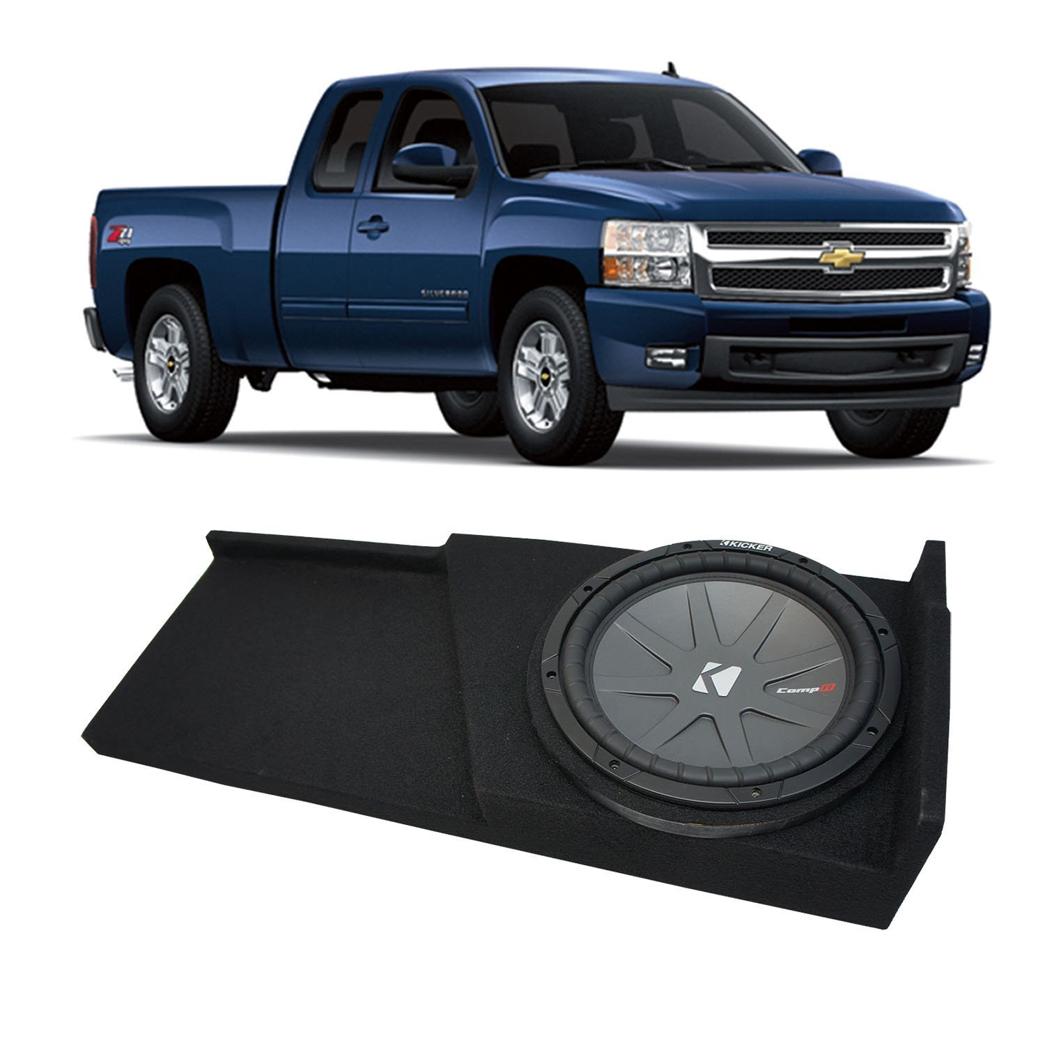 2007-2013 Chevy Silverado Ext Cab Truck Kicker CompR CWR10 Single 10 Sub Box Enclosure - Final 2 Ohm