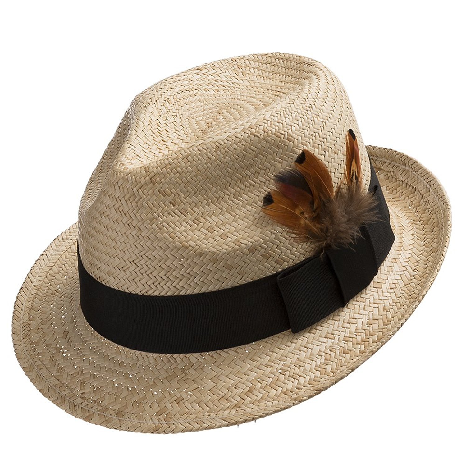 ba92ff55a9733 Get Quotations · Ultrafino Fedora Sedona Straw Panama Hat Trilby with  Feather