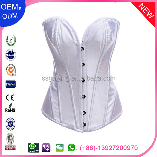 Sexy Lady Womens Boned Corset Lacing White Brocade Top