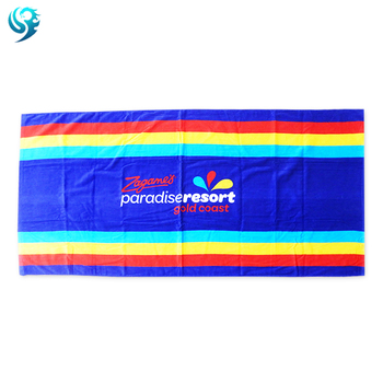 Free Sample Velour Reactive Printed Custom logo imprint beach towel