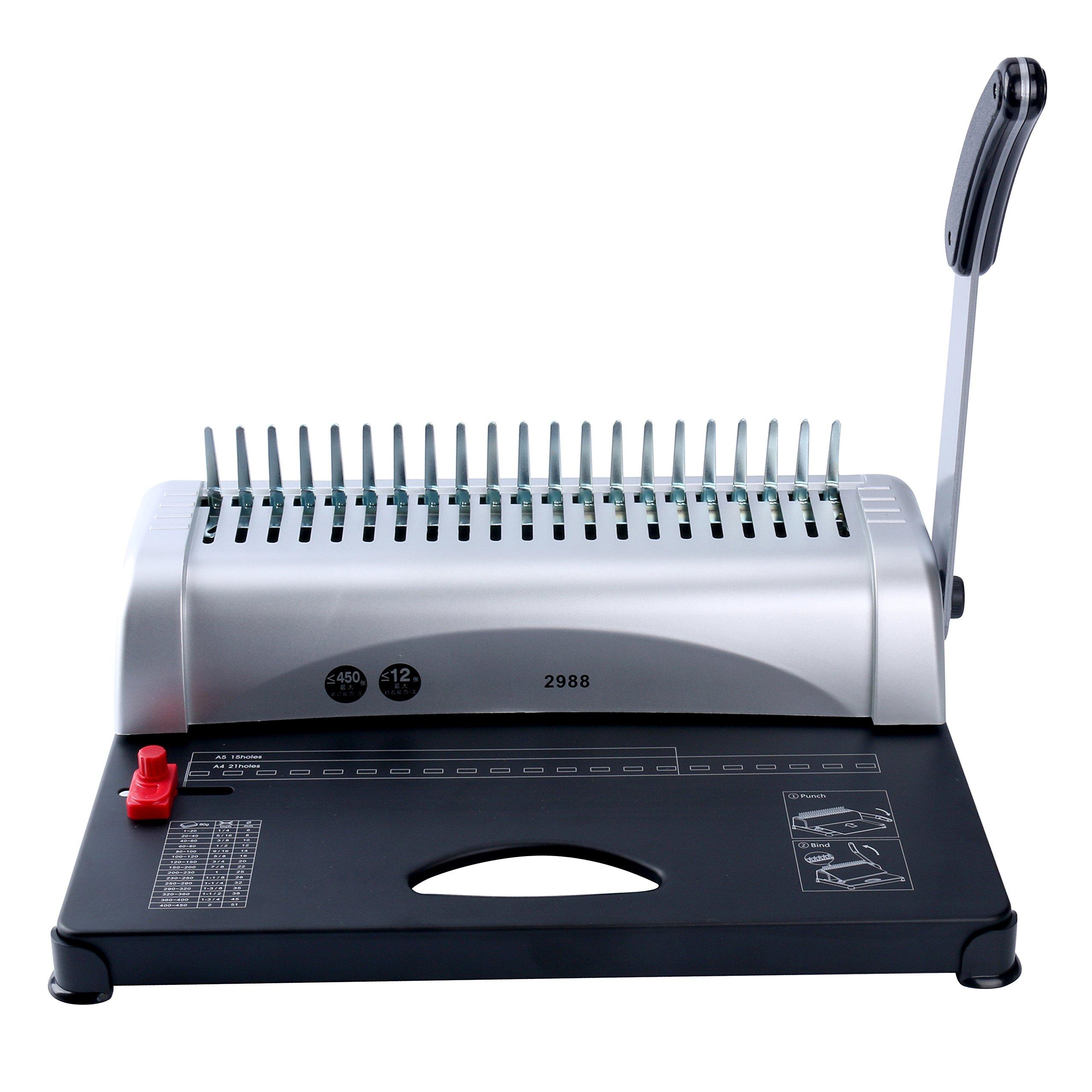YaeKoo 21-Hole 450 Sheets Paper Comb Punch Binder Binding Machine Scrapbook