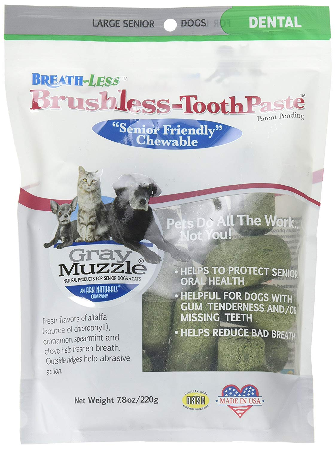Ark Naturals Ark-4710071-1 Brushless Toothpaste Gray Muzzle Friendly Chewable Dental Treats for Dogs, 7.8 oz