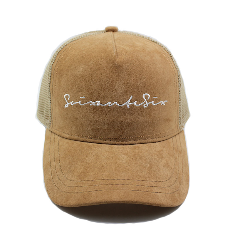 High Quality Fabric Brown Suede Custom Trucker Cap With Mesh Back ... 47311c3c45fb