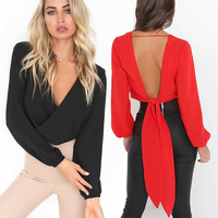 Z30045A Fashion new deep V halter sexy chiffon blouse long sleeve top women