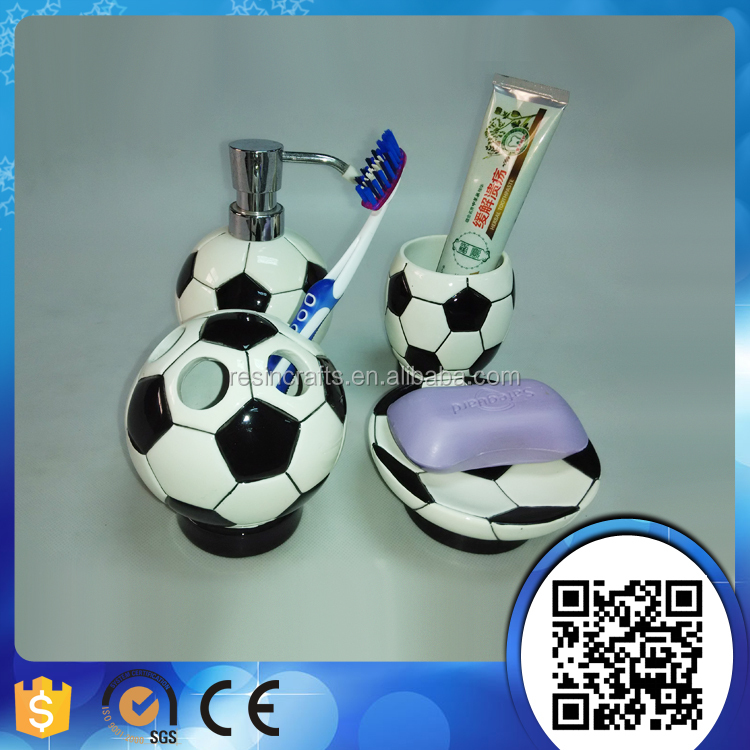 4 Pcs Football Style Resin Bathroom Accessories Set With Soap Dish Tooth Brush Holder Lotion Dispenser Tumbler Ball