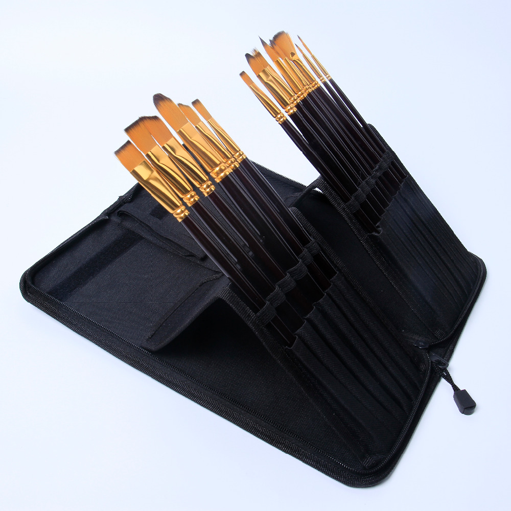 nylon hair artist brush supplies drawing professional acrylic/oil/watercolor painting fine big size brushes set match black bag