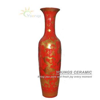 Jingdezhen Large China Red Ceramic Porcelain Dragon Flower Vases