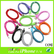 1M USB date cables Fabric Braided Sync Cable Charger Cord For iphone6 iphone6plus iPhone 5/iphone5s/iphone5c fit for IOS8