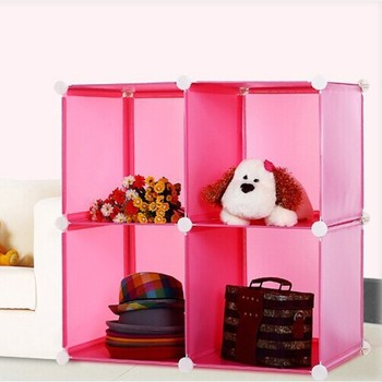 4 cubes plastic toy organizer with diy style in green color fh