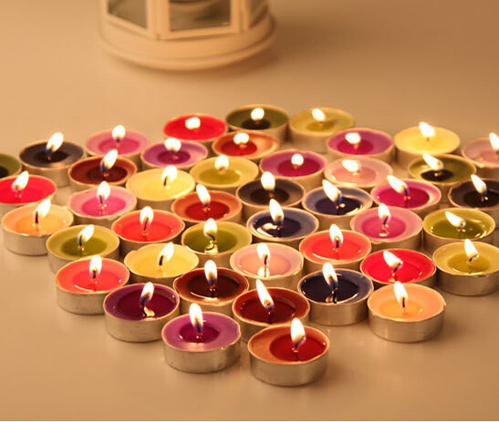 Get Quotations · YARBAR 10 Count Colorful Tealights Candles Outdoor Party  Wedding Decoration Light