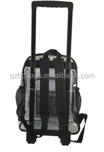 Rolling Clear Backpack Vinyl Wheeled Transparent School Student ...