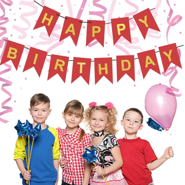 Pastel Happy Birthday Bunting Banner - Birthday Decorations - Gold Foiled Happy Birthday Bunting Banner, Pink banner , Girls Happy birthday banner #CARD_BAN_6
