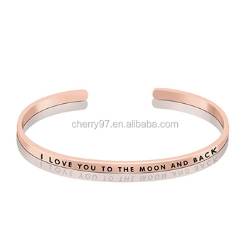 f14dc0e99f2 Hot Sale 3mm Custom Rose Gold Bangle Inspirational stacking Engraved words  cuff Bracelet