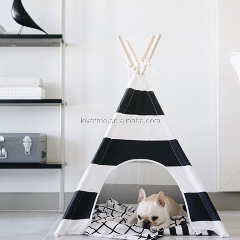 Pet Supplies Washable Durable Black Stripe Style Pet House Tent and Pet Bed Mat for Dogs and Cats