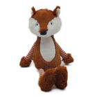 The white and orange stuffed fox toy with long tail