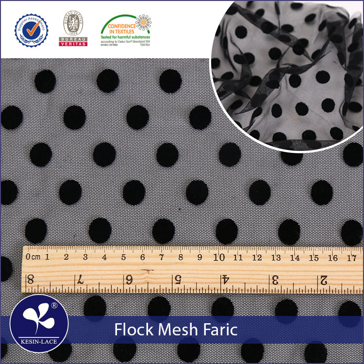 Kesin china hot sell high quality dot flocking <strong>fabric</strong> flock printing nylon mesh <strong>fabric</strong> in stock