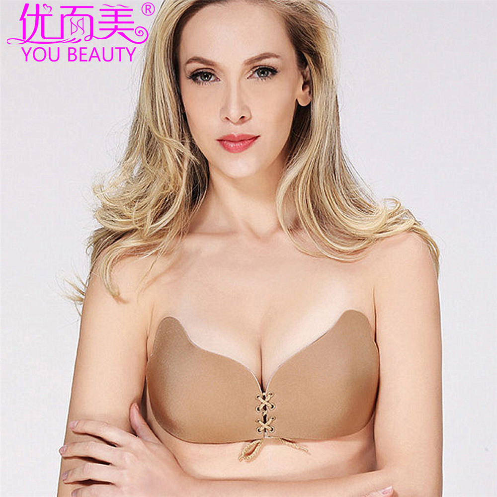 5ad678ab5e17a Adhesive Bra Niidor Strapless Sticky Invisible Push Up Silicone Bra ...