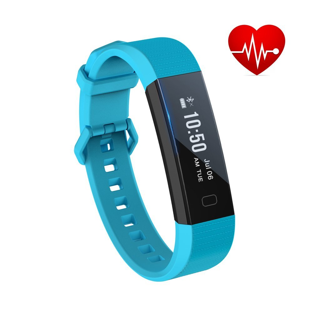 Fitness Tracker,FASCILAND Waterproof Smart Bracelet Fitness Wristband Sports Pedometer Band Activity Tracker With Heart Rate Monitor for Android IOS Smart Phone