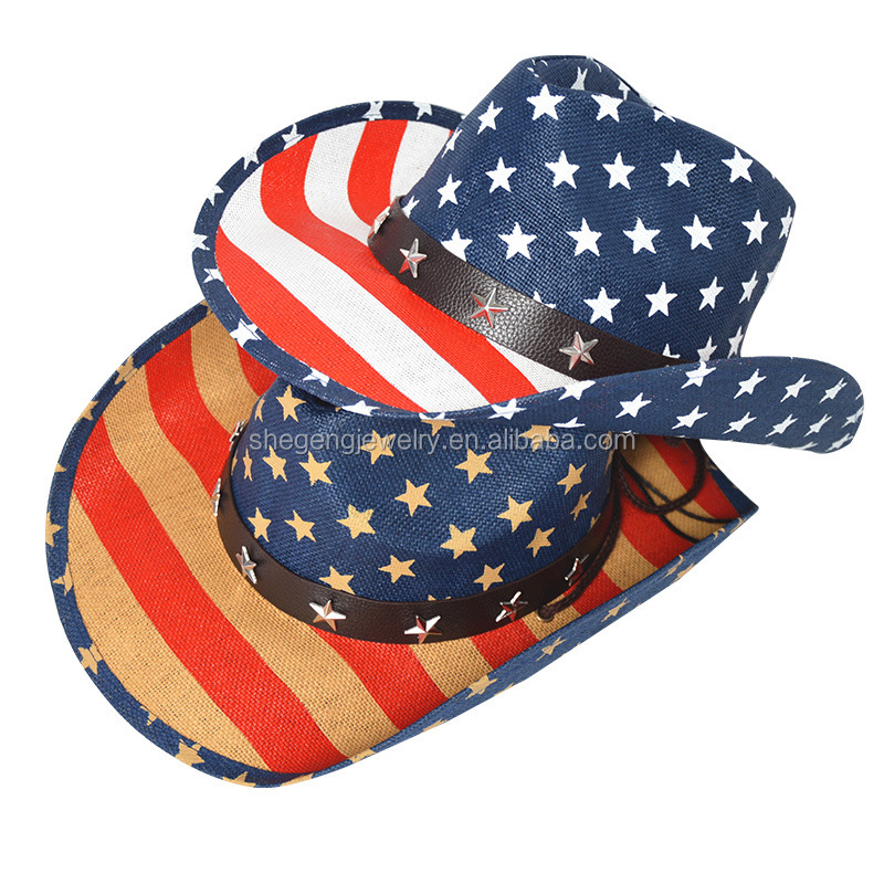 Stars USA American Flag 4th Of July Cowboy Hat