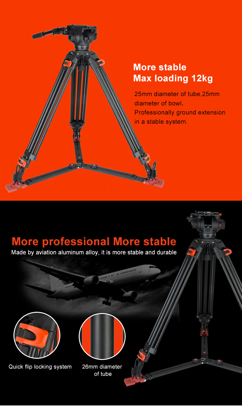 1710mm Height Aluminium Video Tripod With New Design Ballhead View Coman Dx16 Df26 1 2