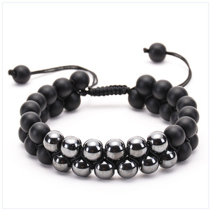 Natural stone grinding stone double row beaded bracelet iron ore double winding woven bracelet