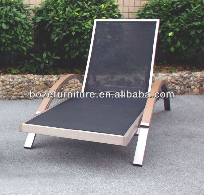Outdoor furniture plastic weave chaise lounge, swimming pool lounge chair