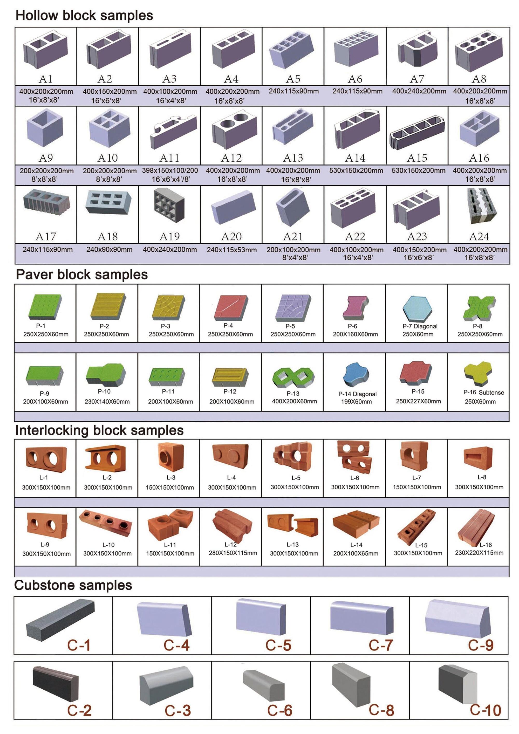 Qtj4 26 Concrete Hollow Blocks Making Machine Pallet Molds