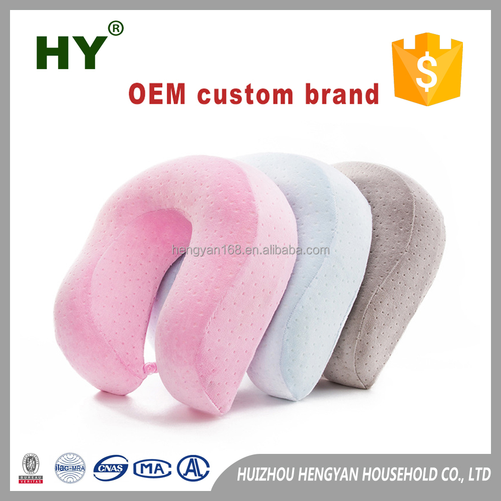 Many colors OEM custom brand memory foam travel pillow u-shape neck protection pillow