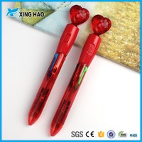 High quality promotional plastic pen 4 color heart shape ball pen for children