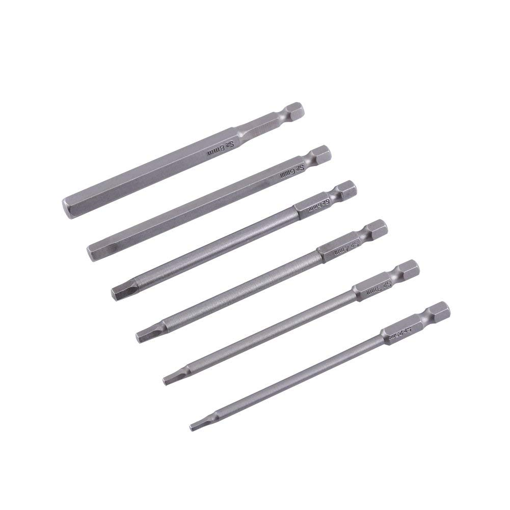 6pcs 100mm Length H2.5-H8 1/4 inch Hex Shank Magnetic Hexagon Head Screwdriver Bit Set Tool