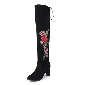 big size women keen boots lady embroidery flowers winter boots sexy shoes