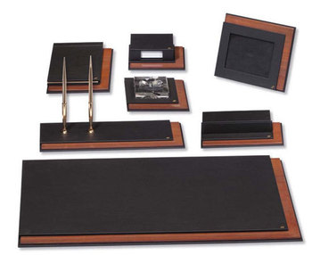Luxury leather and wood desk set buy luxury leather desk sets